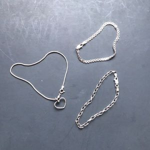 Three sterling silver small bracelets